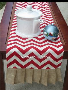 """Red Chevron table Runner with burlap ruffle, Red zigzag ,  & other colors sizes 72"""", 90"""" and 102"""" Long, Extra long runner, Holiday - Wedding..."""