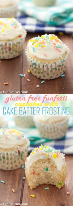 Celebrate with these easy Gluten Free Funfetti Cupcakes with GF Cake Batter Frosting! /pillsburybaking/ #MixUpAMoment #ad