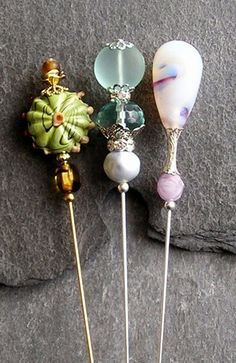 THREE HANDMADE PRETTY GLASS BEAD/FAUX PEARL HAT PINS/HATPIN WITH PIN PROTECTOR | eBay