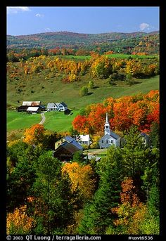 Church and farm,  East Corinth. Vermont, New England