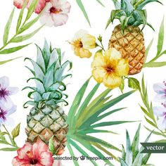 Beautiful Watercolor Vector Tropical Pattern With Pineapples. Royalty Free Cliparts, Vectors, And Stock Illustration. Pic Vector - Beautiful watercolor vector tropical pattern with pineapples and hibiscus Motif Tropical, Tropical Pattern, Tropical Plants, Tropical Flowers, Pineapple Pattern, Hibiscus Flowers, Tropical Leaves, Pineapple Wallpaper, Pineapple Art