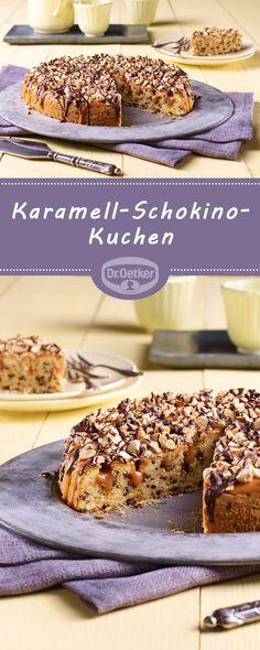Karamell-Schokino-Kuchen: Schokoladiger Rührkuchen mit Cashew-Karamell