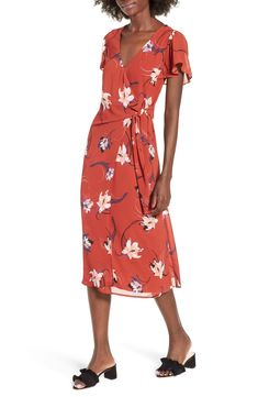 5fe970d7eff Row A Floral Surplice Midi Dress