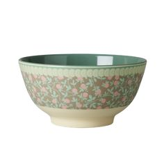 Melamine Bowl Two Tone with Mini Floral Print