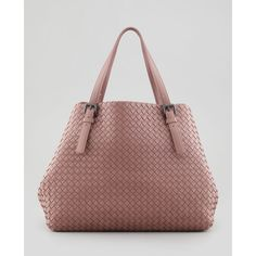 Large Double-Strap A-Shape Tote Bag, Mauve - Bottega Veneta