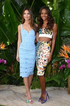 Jasmine Tookes posed alongside Lily Aldridge at the VS Celebrates the Sexiest Push Ups Event in West Hollywood, sporting a $255 Nicholas Spring Floral Denim Bra Tp and High Waist Pencil Skirt