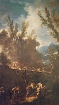 PAESAGGIO CON FRATI. olio su tela. 145,8 × 115,5 cm. ovale. Esposizioni : 1984, Bologna, n. 42.
