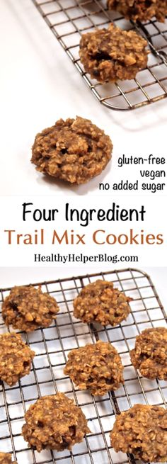 Four Ingredient Trail Mix Cookies...the healthiest cookies you'll ever have! Loaded with peanut butter, chocolate, and banana goodness! #glutenfree #vegan #wholegrain #sugarfree #dessert #snack #breakfast #recipe