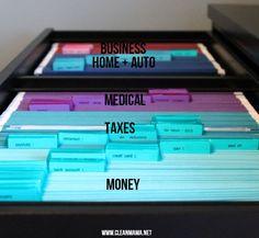 File Folder Organization - filing by color