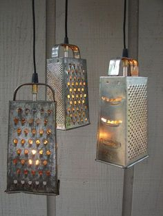 Repurpose old cheese graters into pendant lights. The rustier the better.