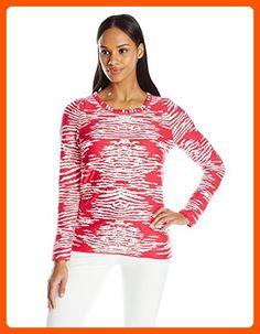 Calvin Klein Women's Animal Print Sweater, Lipstick Pink, Large - All about women (*Amazon Partner-Link)