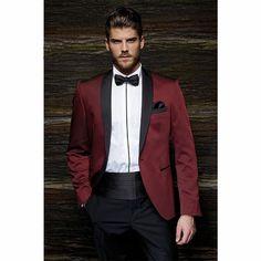 Fashion Style One Button Burgundy Groom Tuxedos Groomsmen Men's Wedding Prom Suits Bridegroom (Jacket+Pants+Girdle+Tie) K:1089