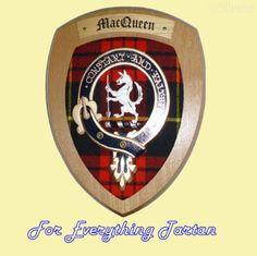 Clan MacQueen Tartan Woodcarver Wooden Wall Plaque MacQueen Crest 7 x 8