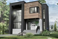 House Plan ë leguë architecture Modern Condo, Small Modern Home, Modern House Plans, Small House Plans, Modern House Design, Modern Exterior, Exterior Design, Sims House, Industrial House