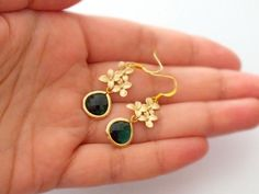 Gold Cherry Blossom and Gold Filled Emerald Drop by BeadingTimes, $22.00