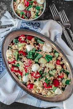 Israeli Couscous Recipe with chopped vegetables, chickpeas and artichokes. Couscous salad packed with flavor! W/ olives, basil & lemon-dill vinaigrette!