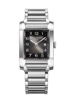 The #Hampton 10021 heralds a celebration of simplicity with an opaline #black dial, #steel bracelet and quartz movement. #womensfashion #luxurywatch #baumeetmercier
