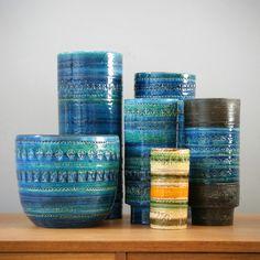Set of six 'Rimini Blu' vases by Aldo Londi for Bitossi