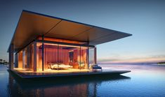 floating glass and wood mobile house. Designed by Dymitr Malcew.