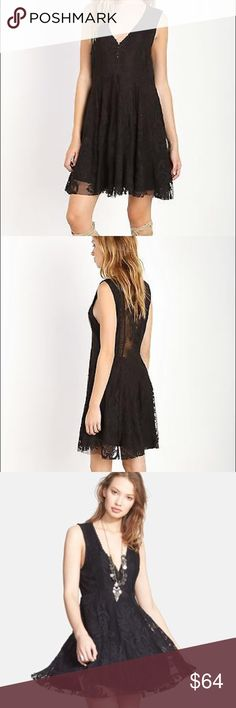 """Free People Reign Over Me black dress B44 Free People Clothing Embroidered Mesh Reign Over Me Dress Black. Deep """"V"""" mini dress with a sheer mesh overlay featuring a beautiful embroidered design with scalloped trim. Hidden side zip. Lined. Fabric: 100% Rayon Care: Hand wash. Imported. Measurements: Length: 33 in Free People Dresses Mini"""