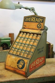 Dorset Finds Store — Tin Litho Eveready Battery Advertising Store Display, ca. 1930s