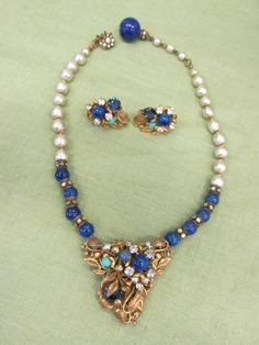 Best Antique Signed Miriam Haskell Cobalt Blue Rhinestone Necklace Earrings Set
