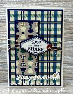 Card Suite True Gentleman (Video). Uses True gentleman D.S.P. , Tailored Tag Punch, True gentleman Buttons, Truly Tailored Stamp Set, Night of Navy Card stock, Very Vanilla Card stock, Night of Navy ink, Linen Thread