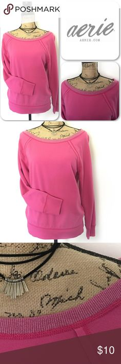Aerie Boatneck Sweatshirt Super adorable, lightweight sweatshirt. It has a beautiful boat neck neckline with a sparkly hem. Hardly worn. Doesn't Fit 😔 aerie Tops Sweatshirts & Hoodies