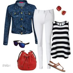 A fashion look from August 2014 featuring striped shirt, denim jacket and white jeans. Browse and shop related looks.