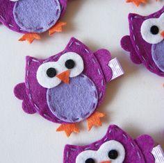 Purple Felt Owl Hair Clip - Cute Everyday Purple Owl Felt Clippies - Birthday party favors. $3.25, via Etsy.
