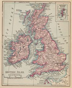 Vintage Map of The British Isles 1855 Poster  Vintage maps