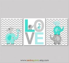 Turquoise+aqua+teal+and+grey+Nursery+Art+Print+Set++by+SednaPrints,+$37.50