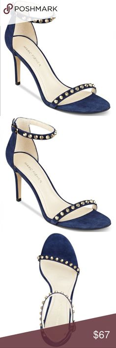 Marc Fisher blue suede banner studded strappy heel Brand new, without box. Sizes available: 7.5 & 9. Genuine leather suede upper with a manmade sole. Adjustable ankle straps. Gold studded heels! These heels are edgy and super cool and will make your whole outfit! Marc Fisher blue suede banner studded strappy heel. Marc Fisher Shoes Heels