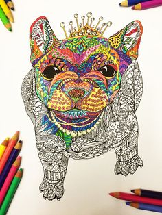 PDF Zentangle Coloring Page: Frenchie in Pearls by DJPenscript