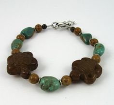 Two Turtles carved jade and turquoise nuggets bracelet by PaisleyLizardDesigns, $45.00