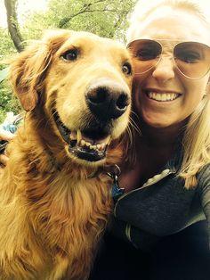 "Leanna:  ""OK, I'll smile if you do""  #goldenretriever #dogwalker #sandypaws"