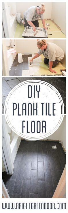 DIY Plank Tile Floor. How to lay Plank Tile. www.BrightGreenDoor.com