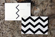 Black and white chevron postcards by Dawn Correspondence