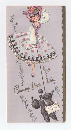 Vintage Greeting Card Cute Girl Walking Poodle Dog Leash Purple