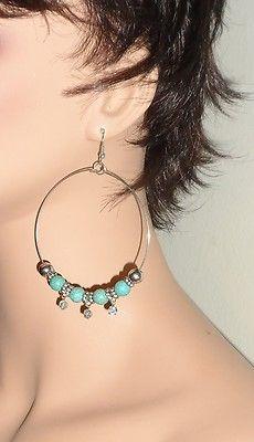 Turquoise Magnesite Howlite Hoop Earrings