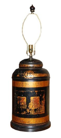 Decorative antique tole painted lamp, from the early 20th Century