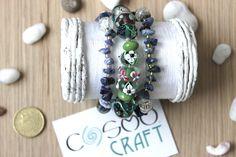 Collana/Bracciale 3 giri in pietra Avventurina blu e di CosmoCraft