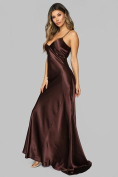 Available In Black And Brown Satin Maxi Slip Dress Spaghetti Straps V Neck Non Stretch Polyester Spandex Made in USA Beautiful Dress Designs, Beautiful Dresses, Nice Dresses, Maxi Dresses, The Dress, Silk Dress, Dress Skirt, Long Satin Dress, Pyjama Satin