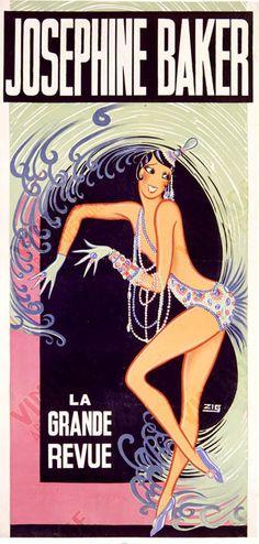 Poster Print Wall Art Print entitled Josephine Baker, La Grande Revue, Vintage Poster, by Louis Gaudin Josephine Baker, Vintage Advertisements, Vintage Ads, Vintage Posters, Vintage Branding, Vintage Prints, Vintage Designs, Vintage Items, Vintage Burlesque
