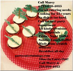 christmas cupcakes snacks partyentertaining... Call Marcy @ 718-916-4015 For all catering needs. Been cooking for 25 years plus No dish is too hard to prepare. Call for next party engagement All kinds of cuisine Daily Specials Friday Night Buffet Sunday Lunch Buffet Made from scratch desserts Breakfast all day Dine-In / Carry-Out! Call Now! Marcy @ 718-916-4015