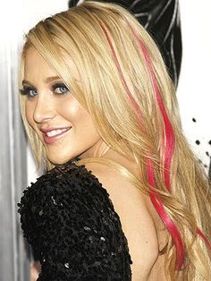 Blonde and pink highlights