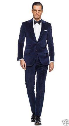 groom velvet jacket | New Mens Blue Velvet Suit Jacket Blazer Trouser Designer Tuxedo Groom ...