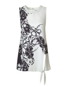 A great sleeveless look for the office or weekend, just in time for the season. This petite blouse features soft, lightweight fabric and a front side tie detail we Large Size Clothing, Tie Blouse, Work Wardrobe, Ivory, Spring Summer, Clothes For Women, Formal Dresses, Stylish