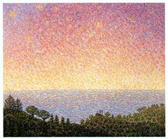Morning Stars Over the Hermitage Benedictine Monks, Ca Usa, Ocean Scenes, Morning Star, Pointillism, California Usa, Landscape Paintings, Art Reference, Style Ideas