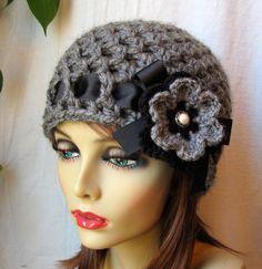 VENDITA uncinetto cappello cappello Womens grigio carbone di